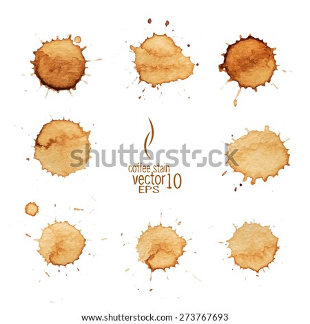 Coffee stain watercolor vector. Coffee stain, isolated on white background. - stock vector