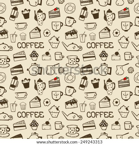 Coffee sweet background seamless - stock vector