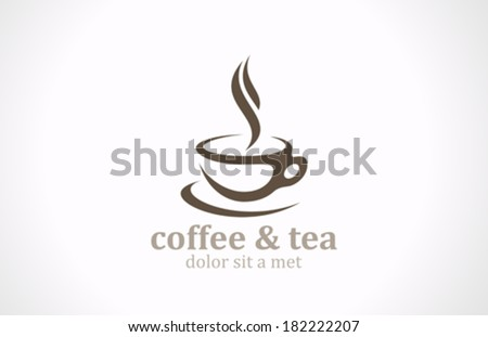 Coffee Tea Cup vector logo design template. Cafe emblem sign. Cafeteria symbol. - stock vector