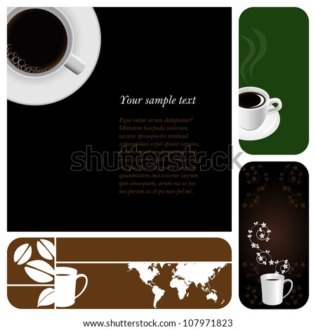 Coffee & tea graphic design elements for cards & background (Part 4) - stock vector