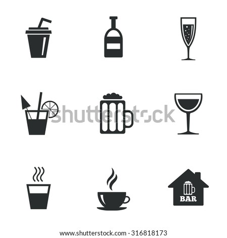 Coffee, tea icons. Beer, wine and cocktail signs. Soft and alcohol drinks symbols. Flat icons on white. Vector - stock vector