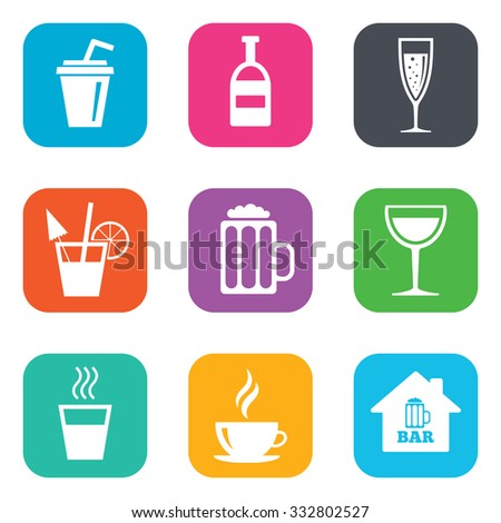 Coffee, tea icons. Beer, wine and cocktail signs. Soft and alcohol drinks symbols. Flat square buttons. Vector - stock vector