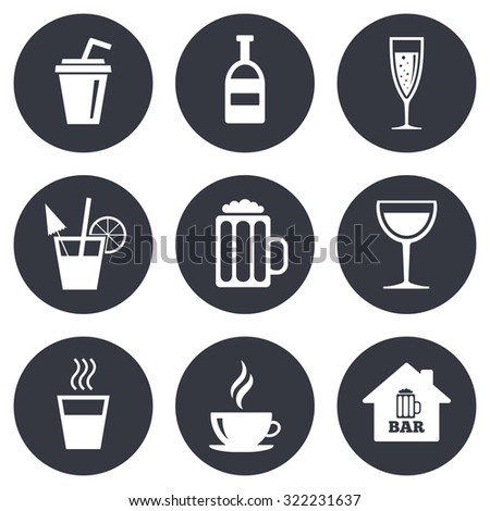 Coffee, tea icons. Beer, wine and cocktail signs. Soft and alcohol drinks symbols. Gray flat circle buttons. Vector - stock vector