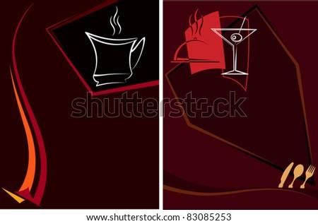 Coffee tea menu design - stock vector