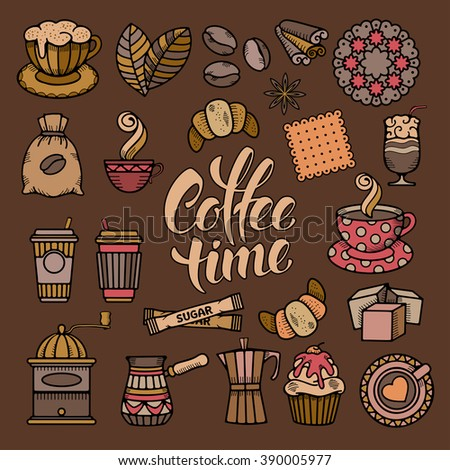 Coffee Theme Icons Set in Minimalistic Outline Doodle Style. Calligraphic Lettering Coffee Time. Vector illustration.  - stock vector