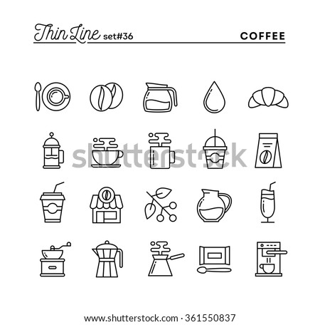 Coffee, thin line icons set, vector illustration - stock vector