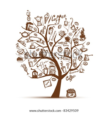 Coffee time. Art tree for your design - stock vector