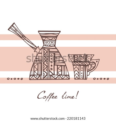 Coffee time illustration. Ornamental Cezve and cup, brown contour on background with beige stripes. - stock vector