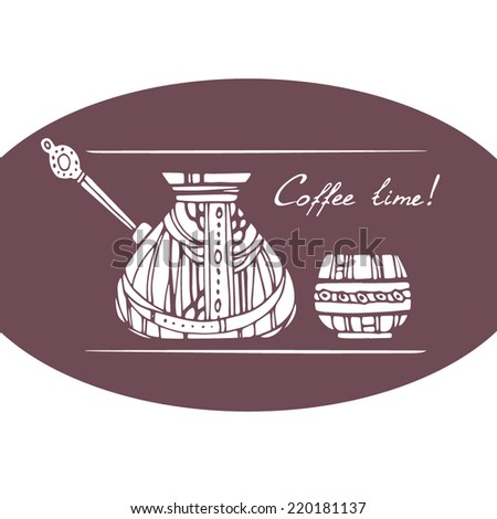 Coffee time illustration. Ornamental Cezve and cup, white silhouette on brown background. - stock vector