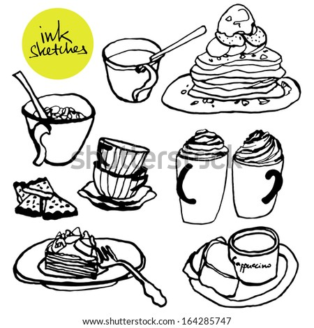 Coffee time ink illustrations  - stock vector