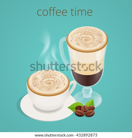 Coffee time or coffee break. Group People Chatting Interaction Socializing Concept. Flat 3d vector isometric illustration. - stock vector