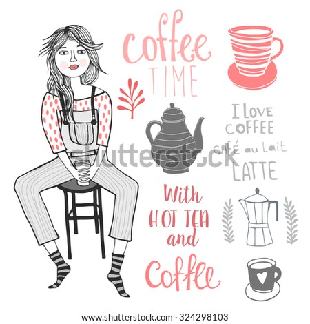 Coffee time with cute girl, Coffee background. Tea time - stock vector