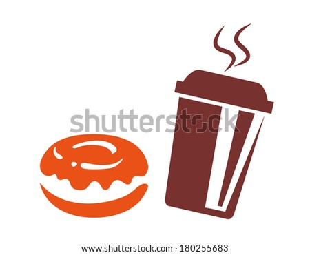 Coffee to go with donut, silhouette isolated on white background - stock vector