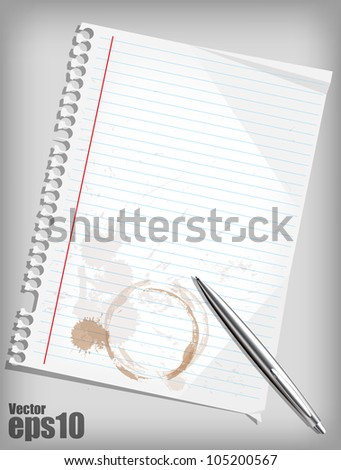 Coffee trace on paper eps10 - stock vector