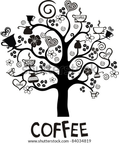 Coffee tree isolated on White background. Vector illustration - stock vector