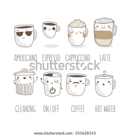 Coffee types and their preparation | EPS10 Vector Icon Set  - stock vector