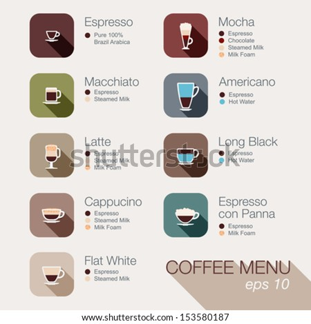Coffee vector icon set menu. Buttons for web and apps. Coffee beverages types and preparation: espresso, mocha, macchiato, americano, latte,long black, cappucino, espresso con panna, flat white, - stock vector