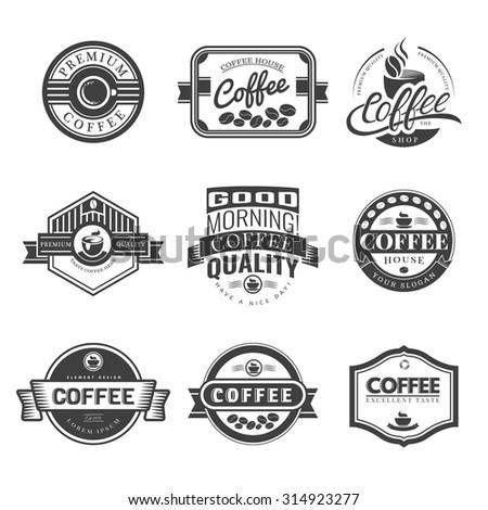 Coffee Vintage Labels Logo Template Collection. Vector Symbols and Icons of Retro style. Mocha, Espresso, Ristretto, Latte, Americano. - stock vector