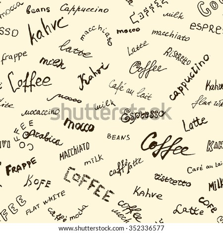 Coffee words background, seamless vector eps 10 - stock vector
