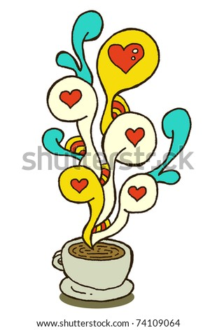 coffeecup series - love - stock vector