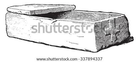 Coffin of Gallo-Roman stone, vintage engraved illustration. Industrial encyclopedia E.-O. Lami - 1875. - stock vector
