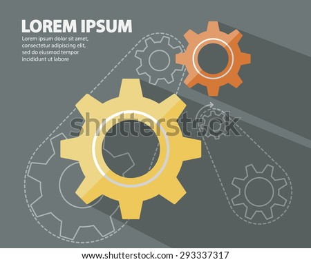 Cog Gear Wheels, Gear Wheels Flat Style with long Shadow Logo on Dark Background and Gear Wheels in Line Style Abstract Background Vector Illustration - stock vector
