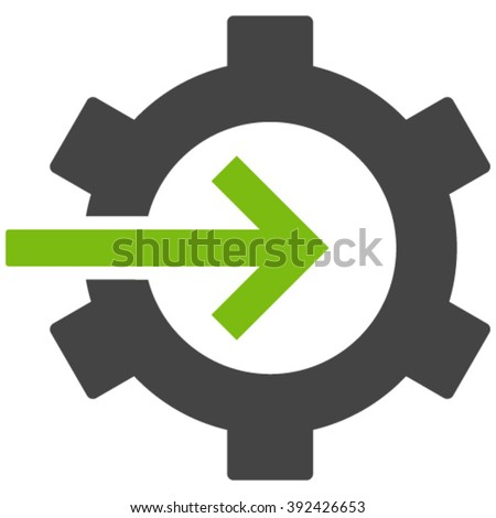 Cog Integration vector icon. Cog Integration icon symbol. Cog Integration icon image. Cog Integration icon picture. Cog Integration pictogram. Flat eco green and gray cog integration icon. - stock vector