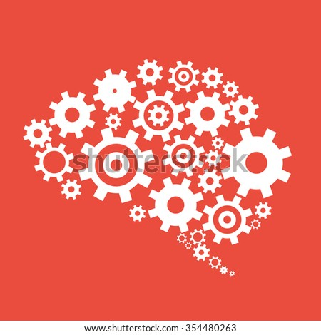 Cog wheels forming a brain shape  - stock vector