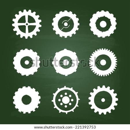 Cog Wheels Icons Set On Green Chalkboard - stock vector