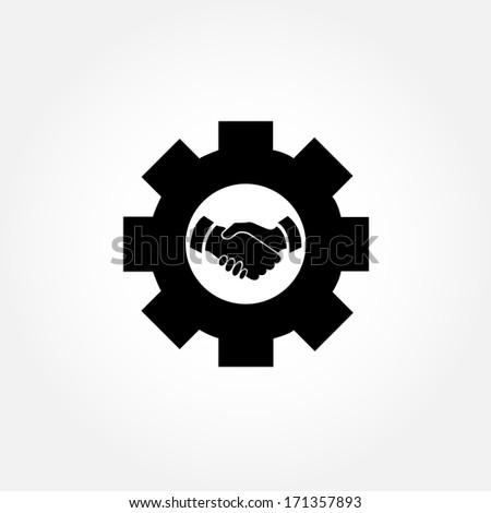 Cog with handshaking sign in the middle - stock vector