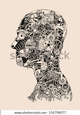 Cogs and Gears Human Head. Cyborg profile. - stock vector