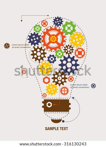 Cogs and gears inside the bulb. Vector Illustration. - stock vector