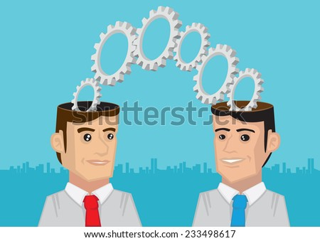 Cogs and toothed wheels coming out of two men with open minds. Metaphorical vector illustration for Two Heads are Better than One.  - stock vector