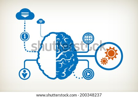 Cogwheel and abstract human brain, the concept of the information movement - stock vector