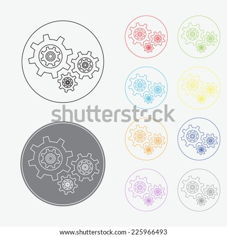 Cogwheel gear icon in thin line style with color variations, vector EPS 10. - stock vector