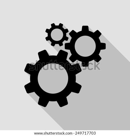 cogwheel gear mechanism icon - black illustration with long shadow - stock vector