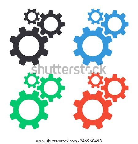 cogwheel gear mechanism settings icon - colored vector illustration - stock vector
