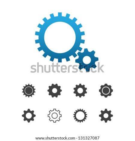 Cogwheel gear mechanism vector settings icon set - stock vector