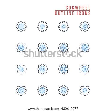 Cogwheel Outline Icons - stock vector