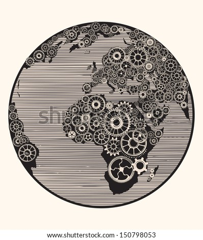 Cogwheel World. - stock vector
