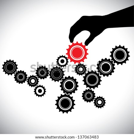 Cogwheels in black & white controlled by red gear by hand(person). This graphic vector illustration represents importance of key person(leader) in the team for the balance & smooth functioning - stock vector