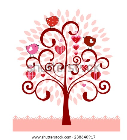 Coil tree with valentine hearts birds leaves  - stock vector