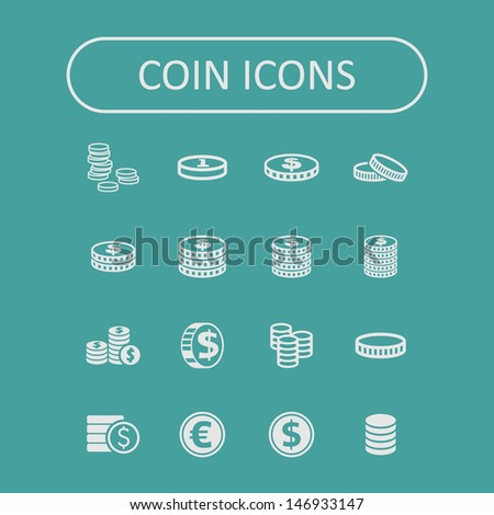 Coin icons - stock vector