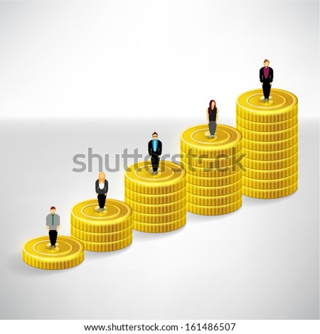 Coin money and people vector design - stock vector