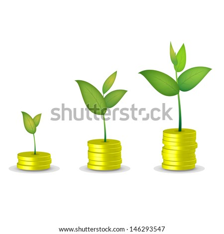 Coin tree grow - stock vector