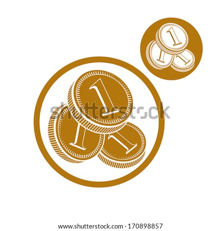 Coins cash money vector simple single color icon isolated on white background, includes invert version for you to choose. - stock vector