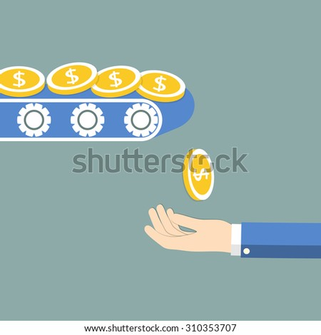 Coins falling in hand. The concept of profit. Vector illustration. - stock vector