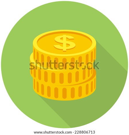 Coins icon  (flat design with long shadows) - stock vector