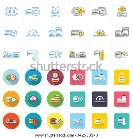 Coins Icons Set - stock vector