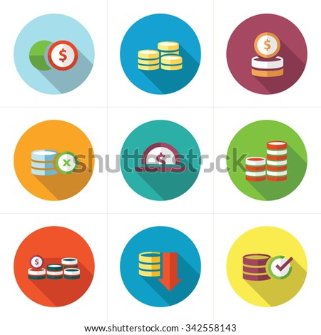 Coins Icons Set design flat - stock vector